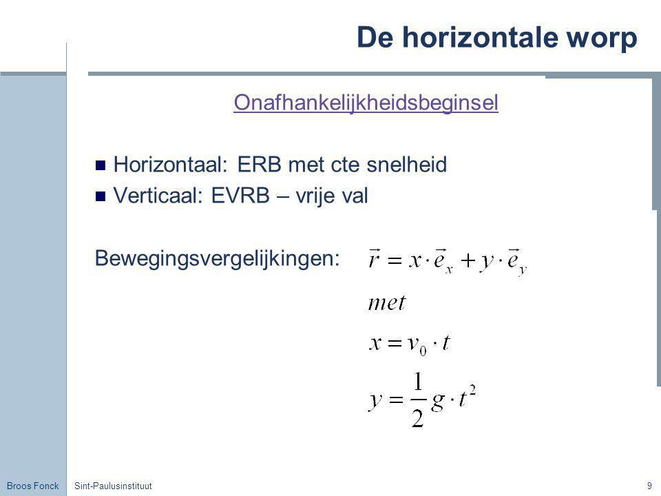 Broos Fonck Sint-Paulusinstituut9 De horizontale worp Onafhankelijkheidsbeginsel Horizontaal: ERB met cte snelheid Verticaal: EVRB – vrije val Bewegin