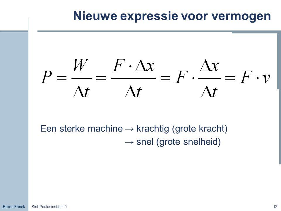 Broos Fonck Sint-Paulusinstituut512 Nieuwe expressie voor vermogen Een sterke machine→ krachtig (grote kracht) → snel (grote snelheid)