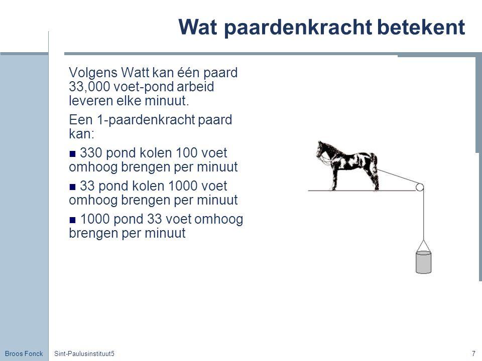 Broos Fonck Sint-Paulusinstituut57 Wat paardenkracht betekent Volgens Watt kan één paard 33,000 voet-pond arbeid leveren elke minuut.