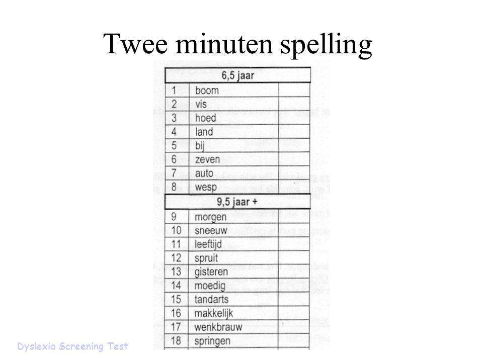 Twee minuten spelling Dyslexia Screening Test