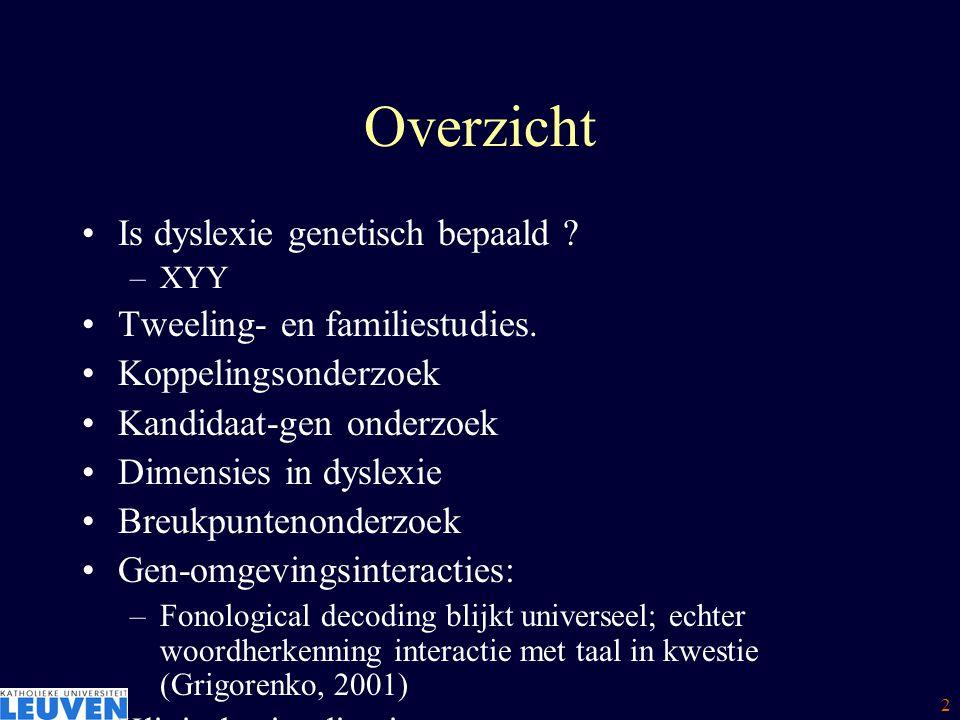 3 Overzicht Is dyslexie genetisch bepaald .