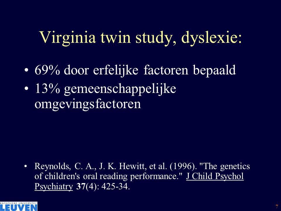 7 Virginia twin study, dyslexie: 69% door erfelijke factoren bepaald 13% gemeenschappelijke omgevingsfactoren Reynolds, C. A., J. K. Hewitt, et al. (1