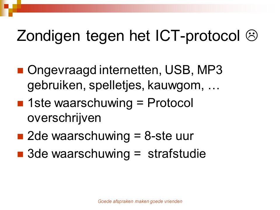 Goede afspraken maken goede vrienden Zondigen tegen het ICT-protocol  Ongevraagd internetten, USB, MP3 gebruiken, spelletjes, kauwgom, … 1ste waarsch
