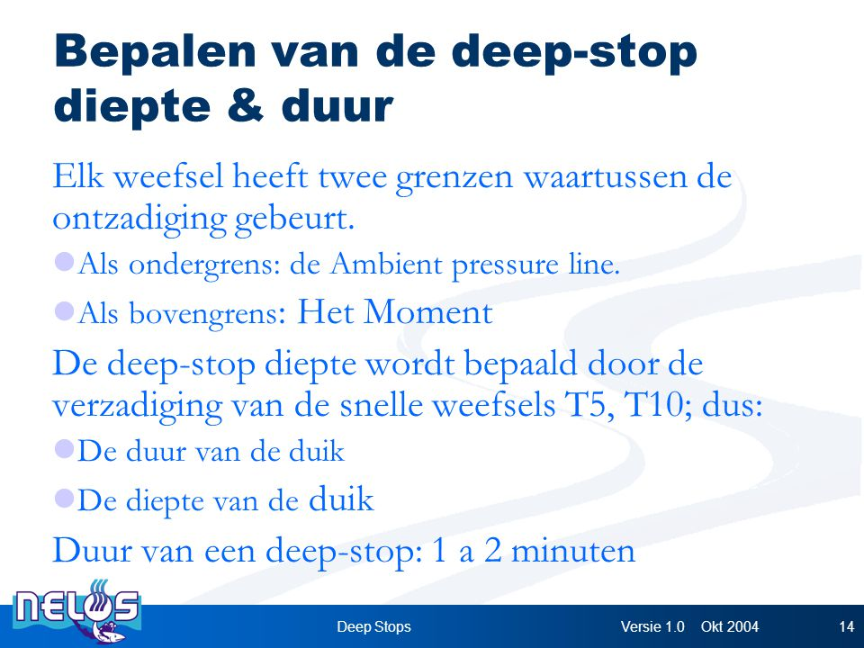 Versie 1.0 Okt 2004Deep Stops14 Bepalen van de deep-stop diepte & duur Elk weefsel heeft twee grenzen waartussen de ontzadiging gebeurt.