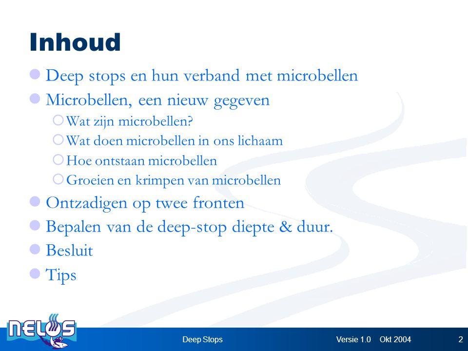 Versie 1.0 Okt 2004Deep Stops2 Inhoud Deep stops en hun verband met microbellen Microbellen, een nieuw gegeven  Wat zijn microbellen.