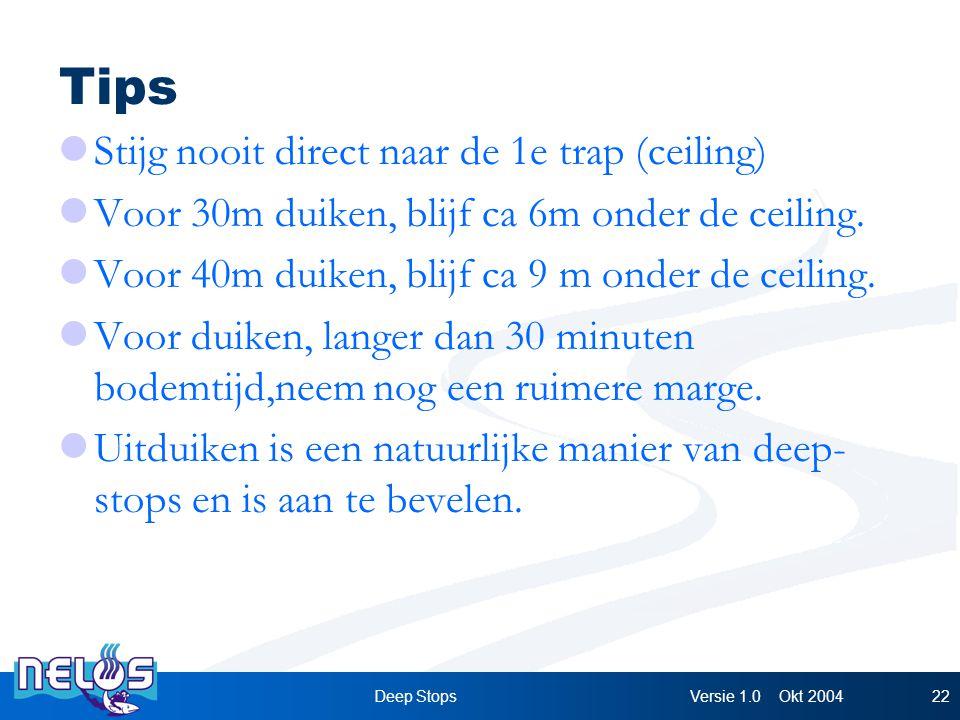Versie 1.0 Okt 2004Deep Stops22 Tips Stijg nooit direct naar de 1e trap (ceiling) Voor 30m duiken, blijf ca 6m onder de ceiling.