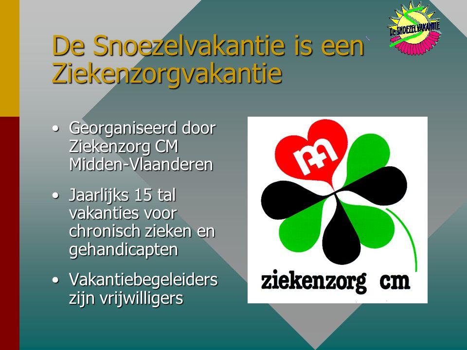 De Snoezelvakantie is een Ziekenzorgvakantie Georganiseerd door Ziekenzorg CM Midden-VlaanderenGeorganiseerd door Ziekenzorg CM Midden-Vlaanderen Jaarlijks 15 tal vakanties voor chronisch zieken en gehandicaptenJaarlijks 15 tal vakanties voor chronisch zieken en gehandicapten Vakantiebegeleiders zijn vrijwilligersVakantiebegeleiders zijn vrijwilligers