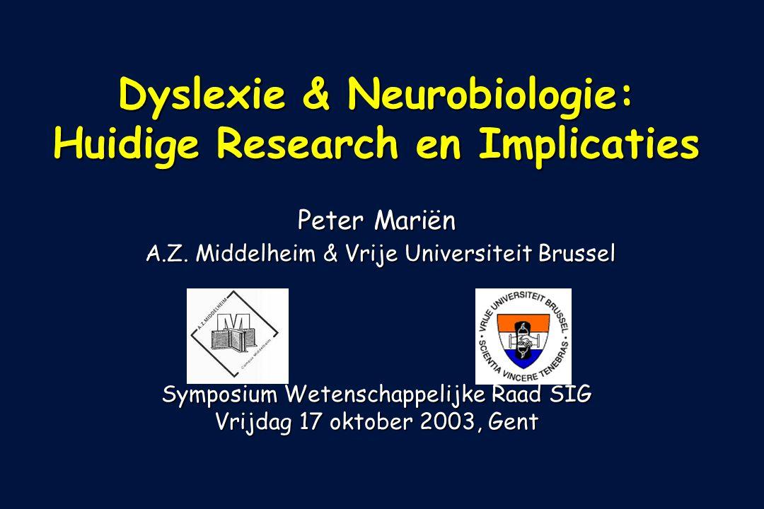AZM-VUB Eind jaren 1980: * niewe imagingtechnieken creëren interesse in de niet motorische rol van het cerebellum * CB geactiveerd in verscheidene cognitieve & linguistische taken: - Peterson et al.