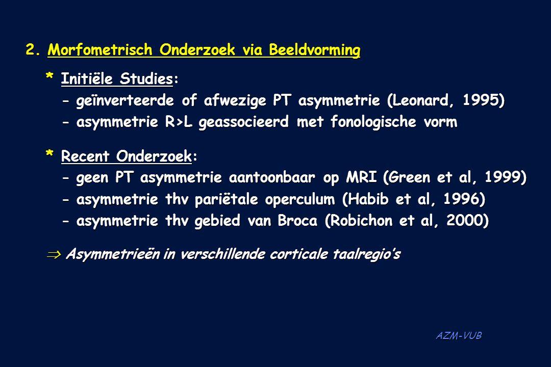 AZM-VUB 2. Morfometrisch Onderzoek via Beeldvorming *Initiële Studies: - geïnverteerde of afwezige PT asymmetrie (Leonard, 1995) - asymmetrie R>L geas
