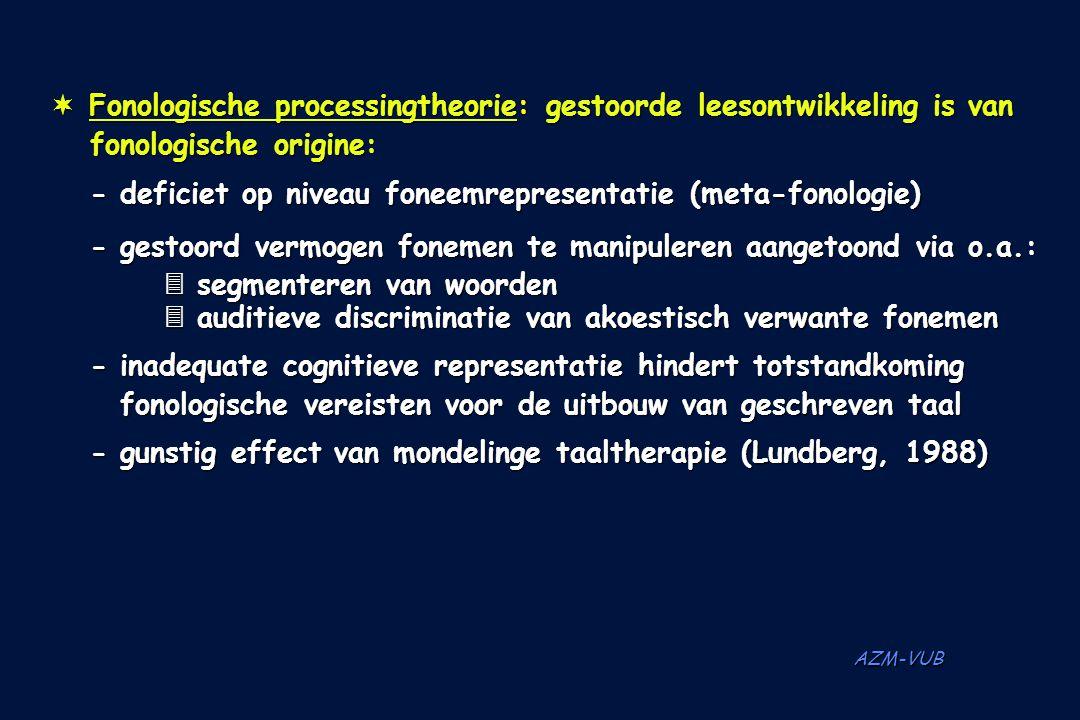 AZM-VUB ¬ Fonologische processingtheorie: gestoorde leesontwikkeling is van fonologische origine: -deficiet op niveau foneemrepresentatie (meta-fonolo