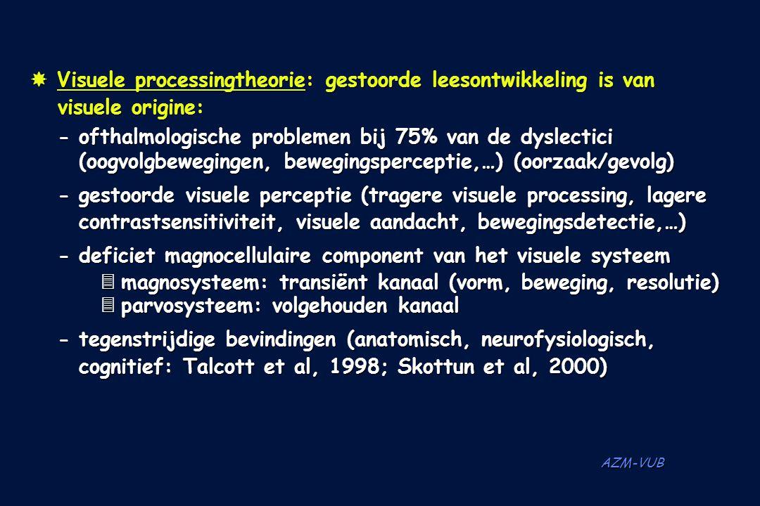 AZM-VUB  Visuele processingtheorie: gestoorde leesontwikkeling is van visuele origine: -ofthalmologische problemen bij 75% van de dyslectici (oogvolg