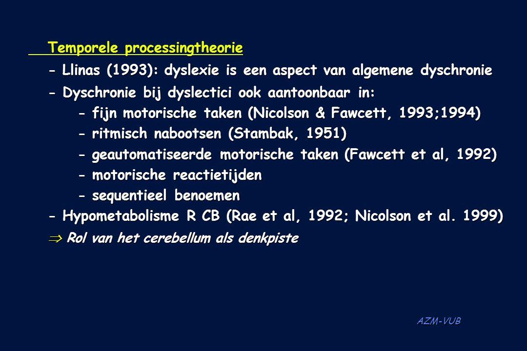 AZM-VUB Temporele processingtheorie -Llinas (1993): dyslexie is een aspect van algemene dyschronie - Dyschronie bij dyslectici ook aantoonbaar in: - f