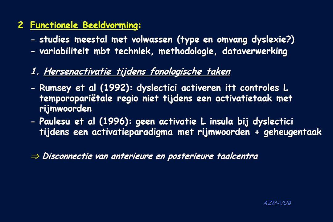 AZM-VUB 2Functionele Beeldvorming: - studies meestal met volwassen (type en omvang dyslexie?) - variabiliteit mbt techniek, methodologie, dataverwerki