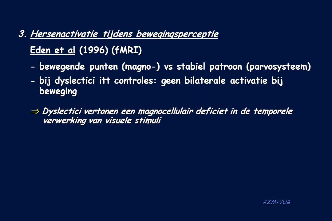 AZM-VUB 3.Hersenactivatie tijdens bewegingsperceptie Eden et al (1996) (fMRI) - bewegende punten (magno-) vs stabiel patroon (parvosysteem) - bij dysl