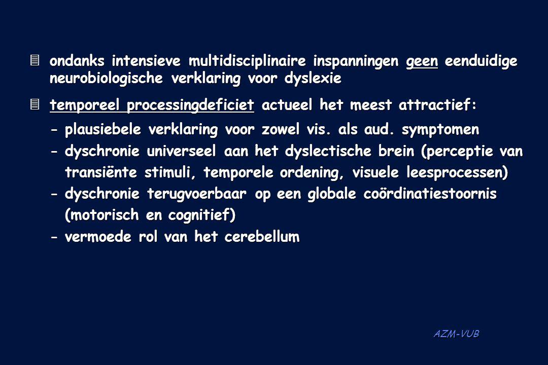 AZM-VUB  ondanks intensieve multidisciplinaire inspanningen geen eenduidige neurobiologische verklaring voor dyslexie  temporeel processingdeficiet