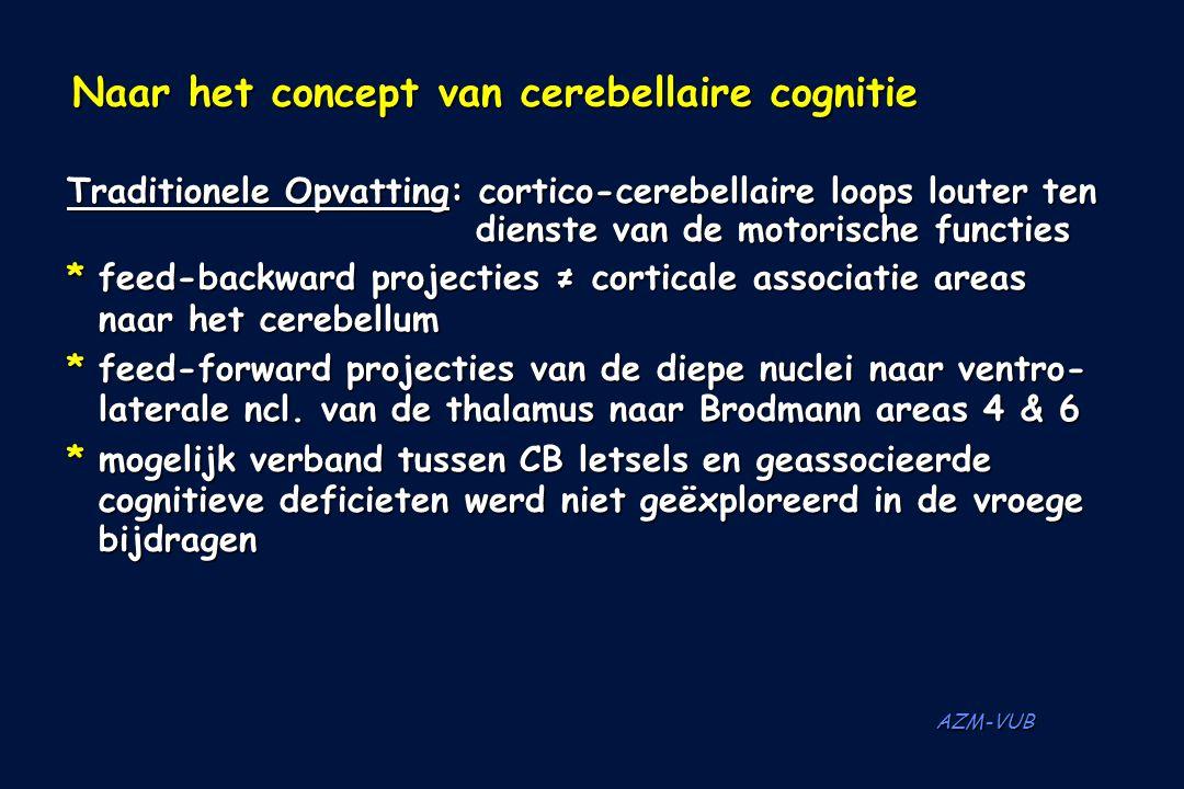 AZM-VUB Naar het concept van cerebellaire cognitie Naar het concept van cerebellaire cognitie Traditionele Opvatting: cortico-cerebellaire loops loute