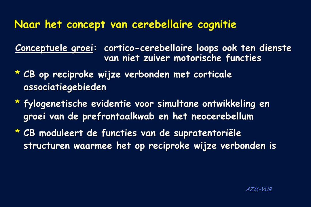 AZM-VUB Naar het concept van cerebellaire cognitie Conceptuele groei:cortico-cerebellaire loops ook ten dienste van niet zuiver motorische functies *C