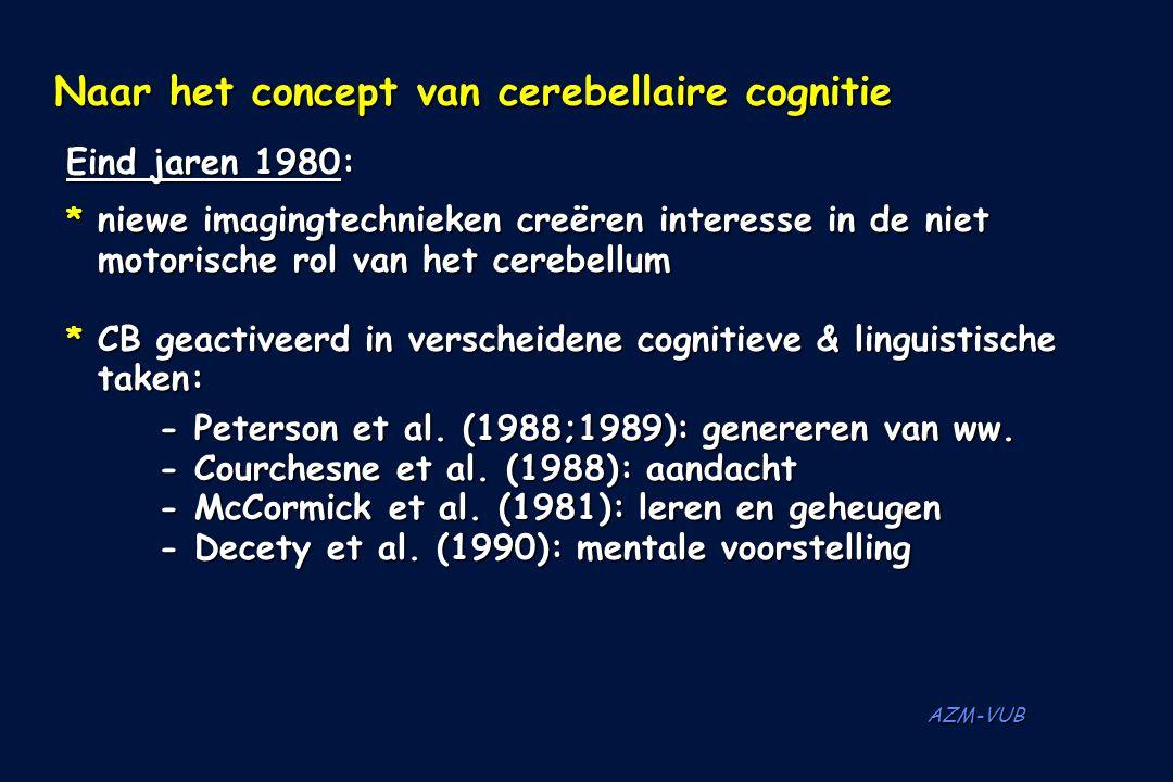 AZM-VUB Eind jaren 1980: * niewe imagingtechnieken creëren interesse in de niet motorische rol van het cerebellum * CB geactiveerd in verscheidene cog