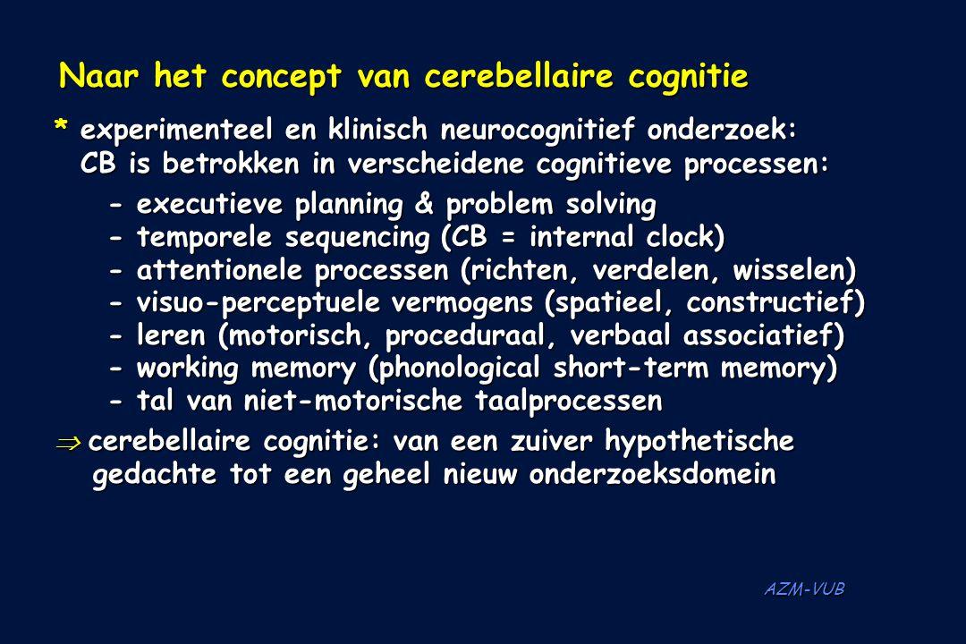AZM-VUB Naar het concept van cerebellaire cognitie Naar het concept van cerebellaire cognitie * experimenteel en klinisch neurocognitief onderzoek: CB