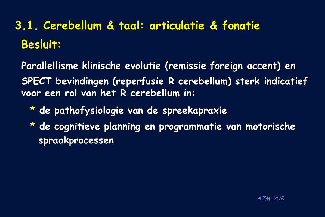 AZM-VUB 3.1. Cerebellum & taal: articulatie & fonatie Besluit: Parallellisme klinische evolutie (remissie foreign accent) en SPECT bevindingen (reperf