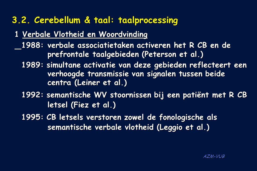 AZM-VUB 3.2. Cerebellum & taal: taalprocessing 1 Verbale Vlotheid en Woordvinding 1988:verbale associatietaken activeren het R CB en de prefrontale ta