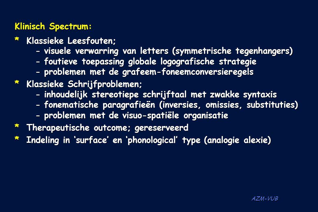 AZM-VUB Klinisch Spectrum: *Klassieke Leesfouten; - visuele verwarring van letters (symmetrische tegenhangers) - foutieve toepassing globale logografi