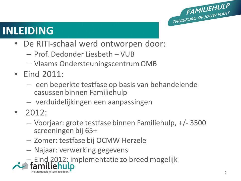 2 INLEIDING De RITI-schaal werd ontworpen door: – Prof. Dedonder Liesbeth – VUB – Vlaams Ondersteuningscentrum OMB Eind 2011: – een beperkte testfase