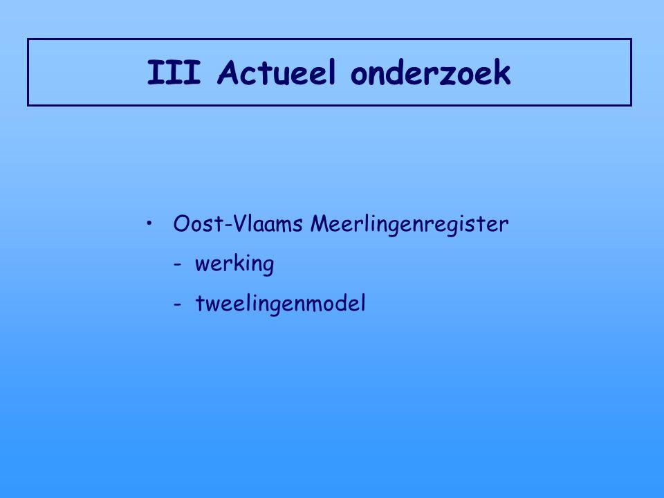 III Actueel onderzoek Oost-Vlaams Meerlingenregister - werking - tweelingenmodel
