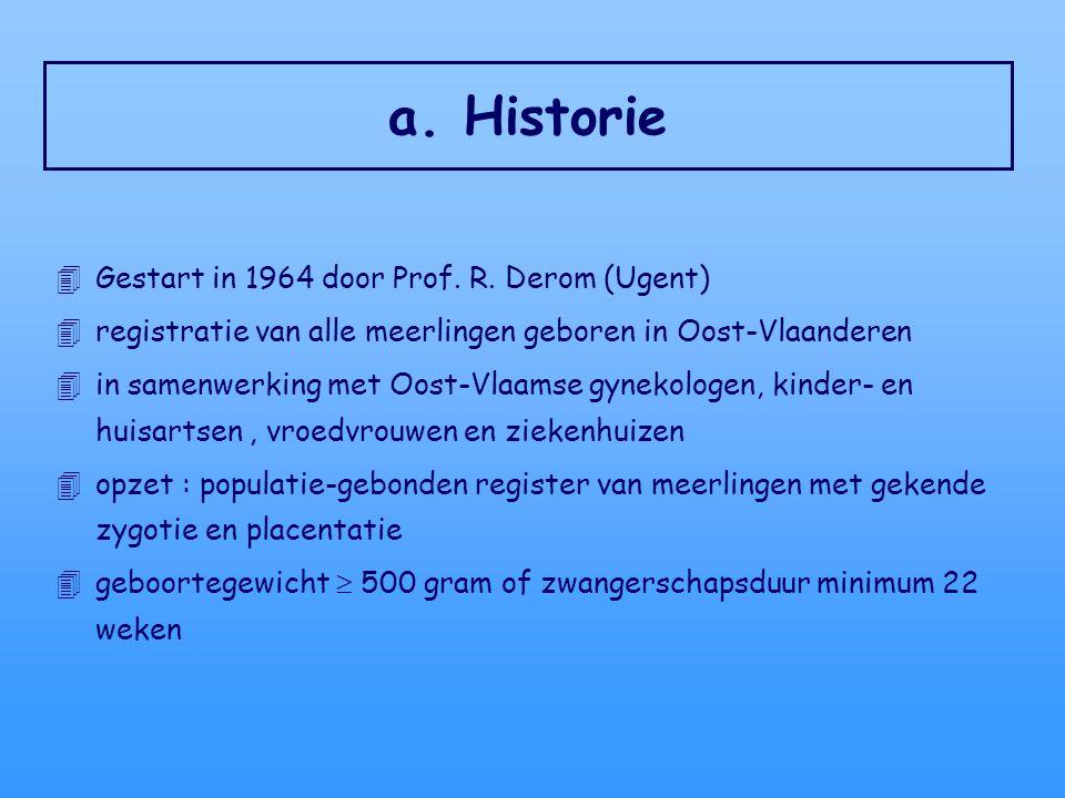 a. Historie 4Gestart in 1964 door Prof. R. Derom (Ugent) 4registratie van alle meerlingen geboren in Oost-Vlaanderen 4in samenwerking met Oost-Vlaamse