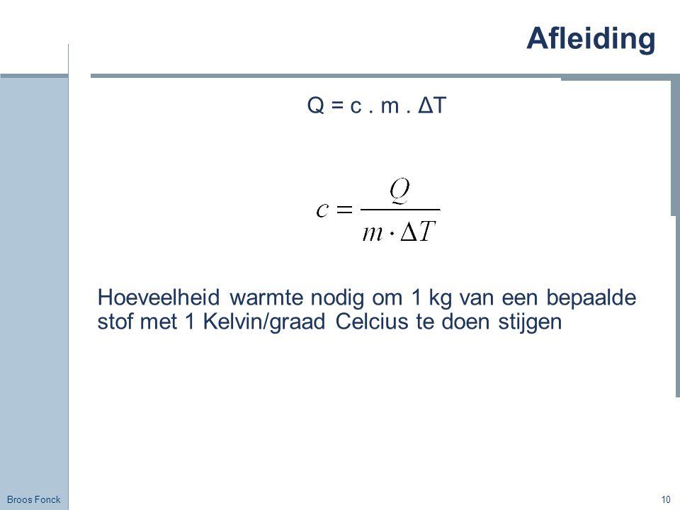 Broos Fonck 10 Afleiding Q = c. m. ΔT Hoeveelheid warmte nodig om 1 kg van een bepaalde stof met 1 Kelvin/graad Celcius te doen stijgen