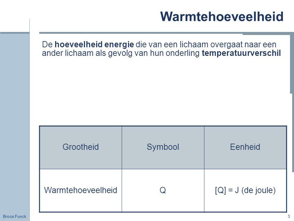 Broos Fonck 5 Warmtehoeveelheid De hoeveelheid energie die van een lichaam overgaat naar een ander lichaam als gevolg van hun onderling temperatuurver