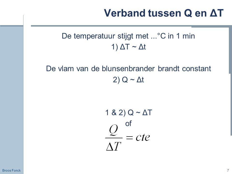 Broos Fonck 7 Verband tussen Q en ΔT De temperatuur stijgt met...°C in 1 min 1) ΔT ~ Δt De vlam van de blunsenbrander brandt constant 2) Q ~ Δt 1 & 2)