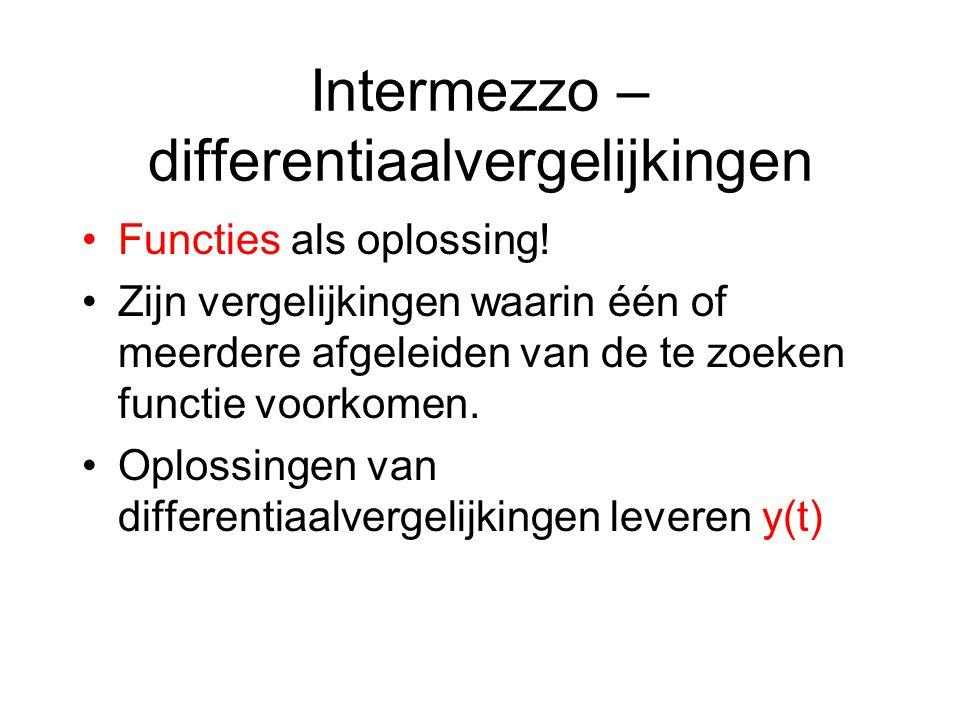 Intermezzo – differentiaalvergelijkingen Functies als oplossing! Zijn vergelijkingen waarin één of meerdere afgeleiden van de te zoeken functie voorko