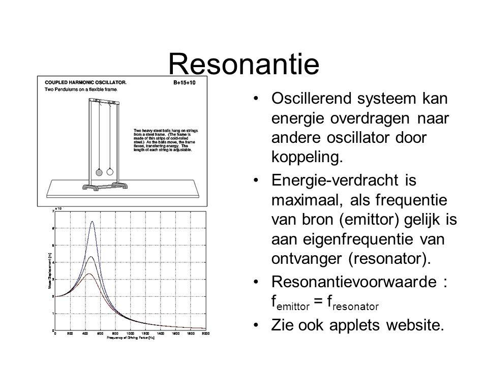 Resonantie Oscillerend systeem kan energie overdragen naar andere oscillator door koppeling. Energie-verdracht is maximaal, als frequentie van bron (e