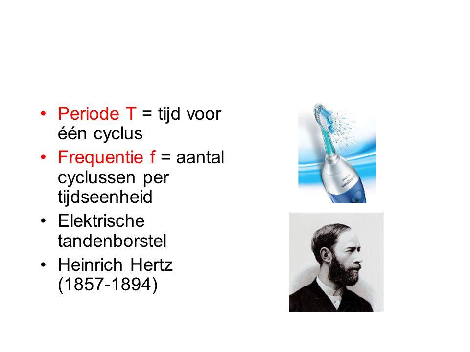 Periode T = tijd voor één cyclus Frequentie f = aantal cyclussen per tijdseenheid Elektrische tandenborstel Heinrich Hertz (1857-1894)