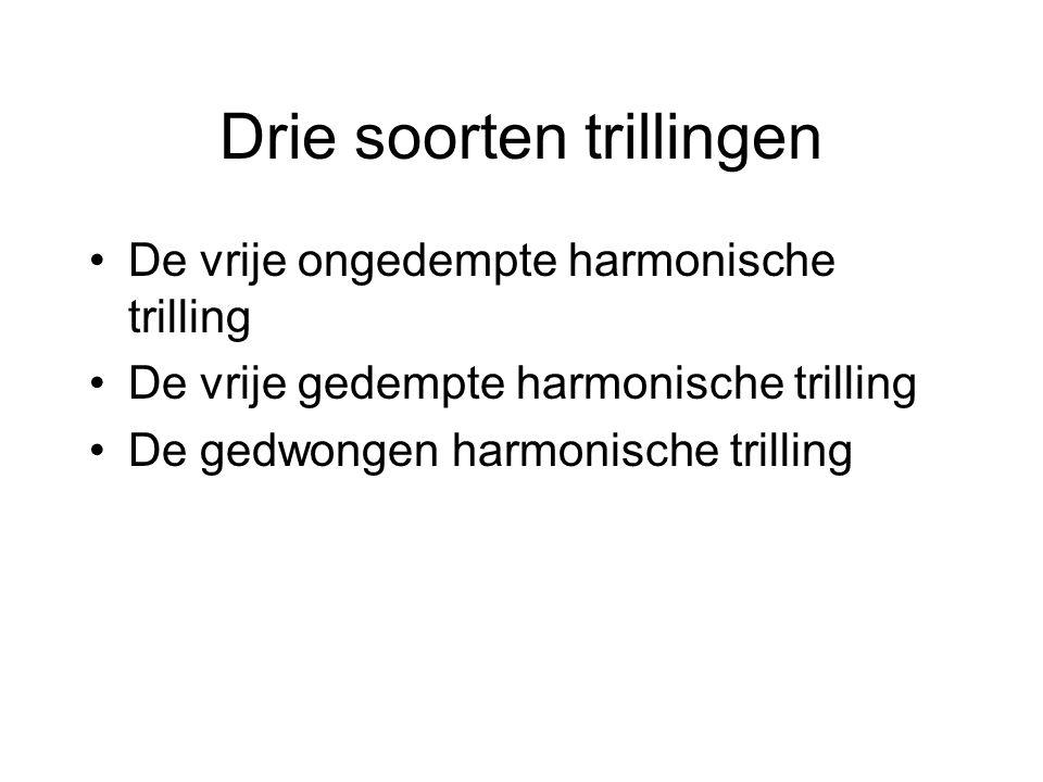 Drie soorten trillingen De vrije ongedempte harmonische trilling De vrije gedempte harmonische trilling De gedwongen harmonische trilling