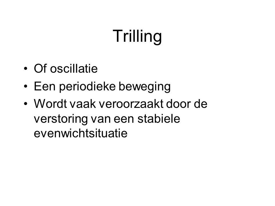 Trilling Of oscillatie Een periodieke beweging Wordt vaak veroorzaakt door de verstoring van een stabiele evenwichtsituatie