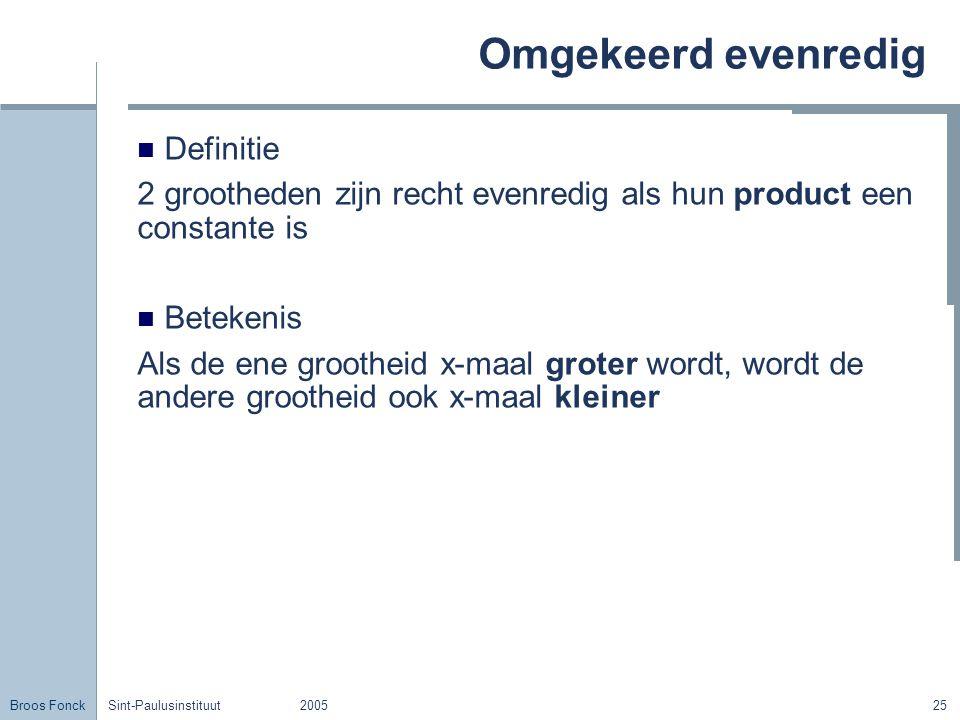 Broos Fonck Sint-Paulusinstituut200525 Omgekeerd evenredig Definitie 2 grootheden zijn recht evenredig als hun product een constante is Betekenis Als