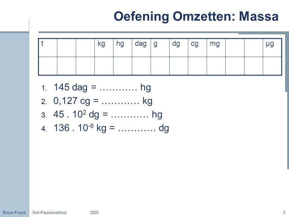 Broos Fonck Sint-Paulusinstituut20053 Oefening Omzetten: Massa 1. 145 dag = ………… hg 2. 0,127 cg = ………… kg 3. 45. 10 2 dg = ………… hg 4. 136. 10 -6 kg =