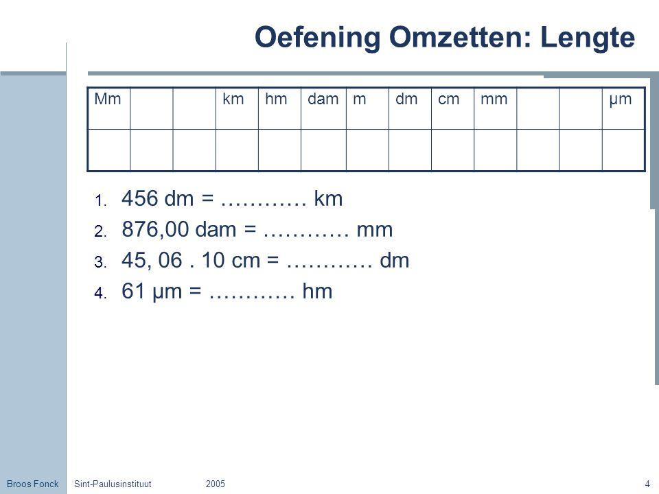 Broos Fonck Sint-Paulusinstituut20054 Oefening Omzetten: Lengte 1. 456 dm = ………… km 2. 876,00 dam = ………… mm 3. 45, 06. 10 cm = ………… dm 4. 61 μm = …………