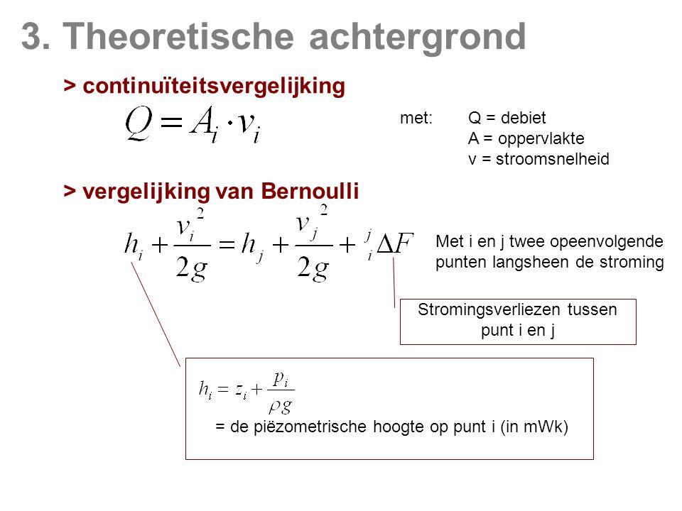 3. Theoretische achtergrond > continuïteitsvergelijking met:Q = debiet A = oppervlakte v = stroomsnelheid > vergelijking van Bernoulli Stromingsverlie