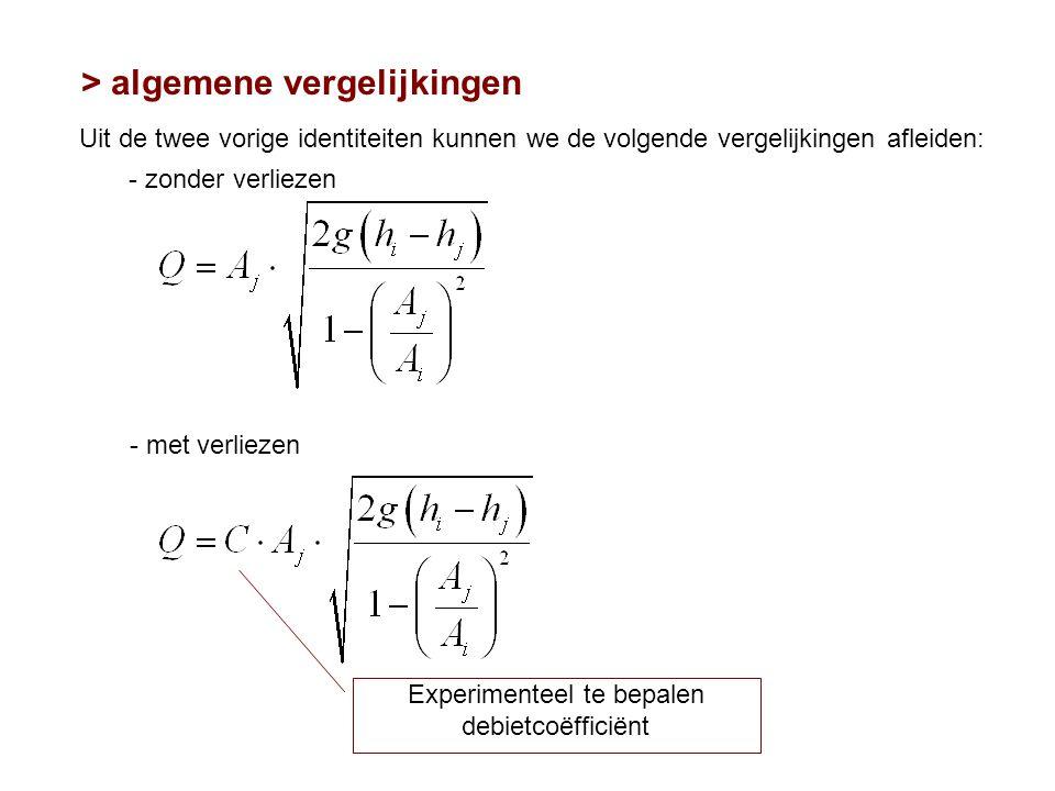 > algemene vergelijkingen Uit de twee vorige identiteiten kunnen we de volgende vergelijkingen afleiden: Experimenteel te bepalen debietcoëfficiënt -