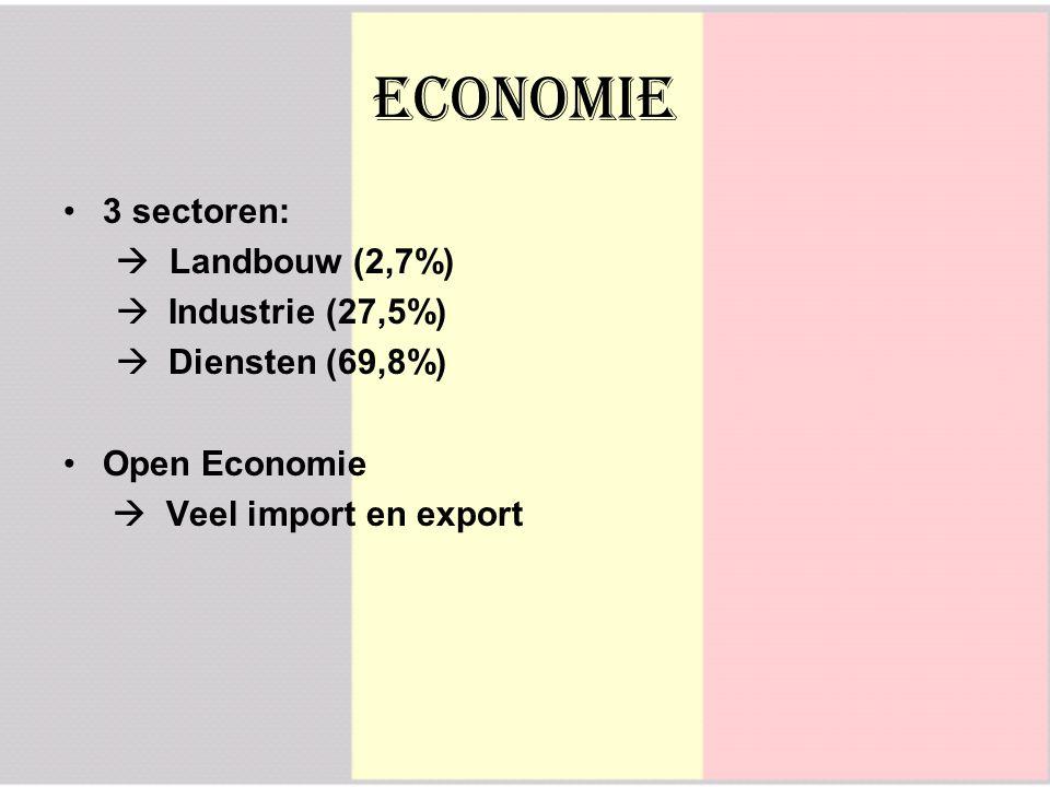 Economie 3 sectoren:  Landbouw (2,7%)  Industrie (27,5%)  Diensten (69,8%) Open Economie  Veel import en export