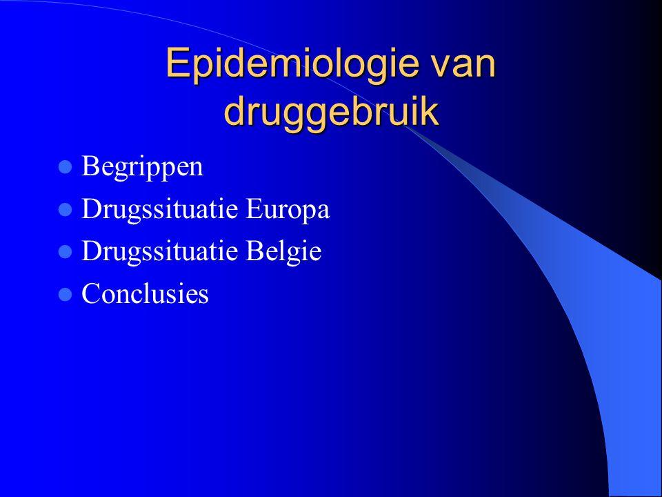 Epidemiologie van druggebruik Begrippen Drugssituatie Europa Drugssituatie Belgie Conclusies