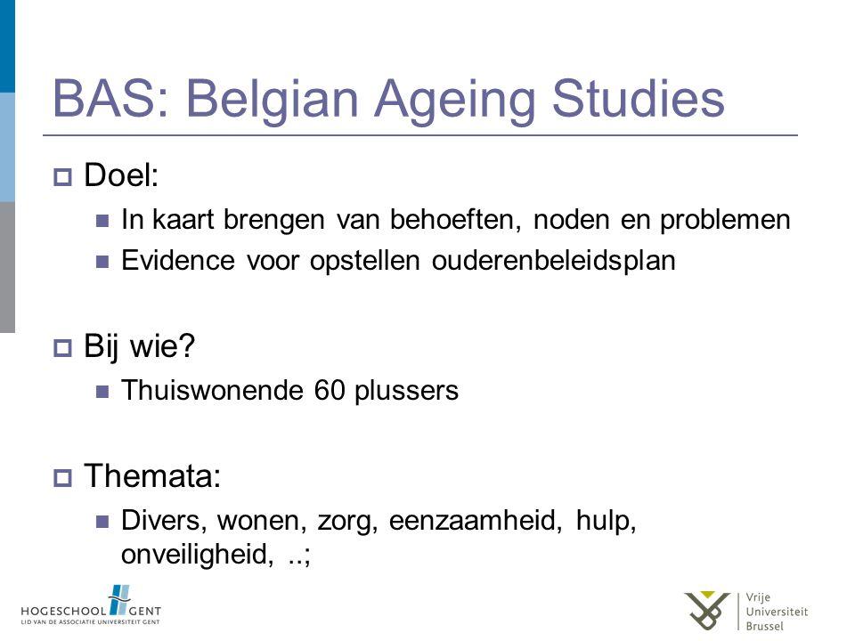 BAS: Belgian Ageing Studies  Doel: In kaart brengen van behoeften, noden en problemen Evidence voor opstellen ouderenbeleidsplan  Bij wie.
