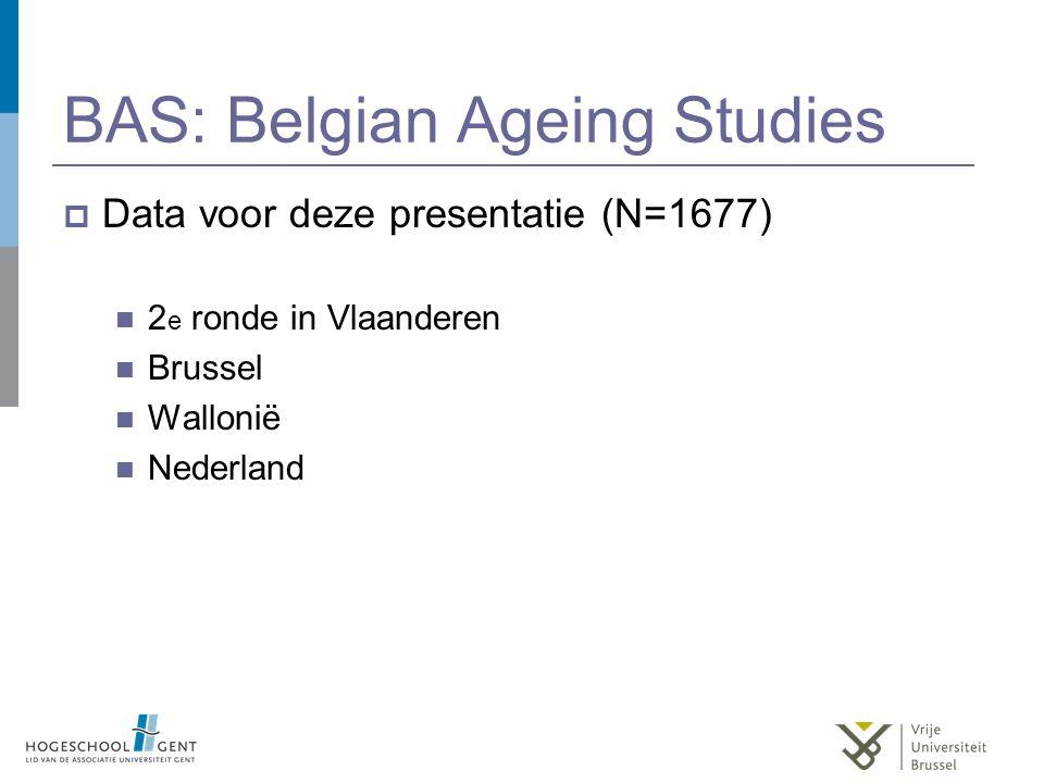 BAS: Belgian Ageing Studies  Data voor deze presentatie (N=1677) 2 e ronde in Vlaanderen Brussel Wallonië Nederland