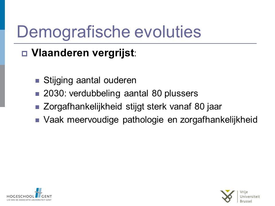 Demografische evoluties  Vlaanderen vergrijst : Stijging aantal ouderen 2030: verdubbeling aantal 80 plussers Zorgafhankelijkheid stijgt sterk vanaf 80 jaar Vaak meervoudige pathologie en zorgafhankelijkheid