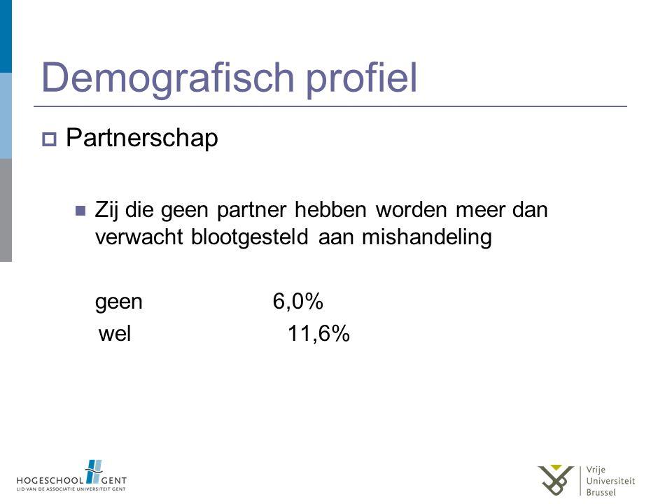 Demografisch profiel  Partnerschap Zij die geen partner hebben worden meer dan verwacht blootgesteld aan mishandeling geen 6,0% wel 11,6%