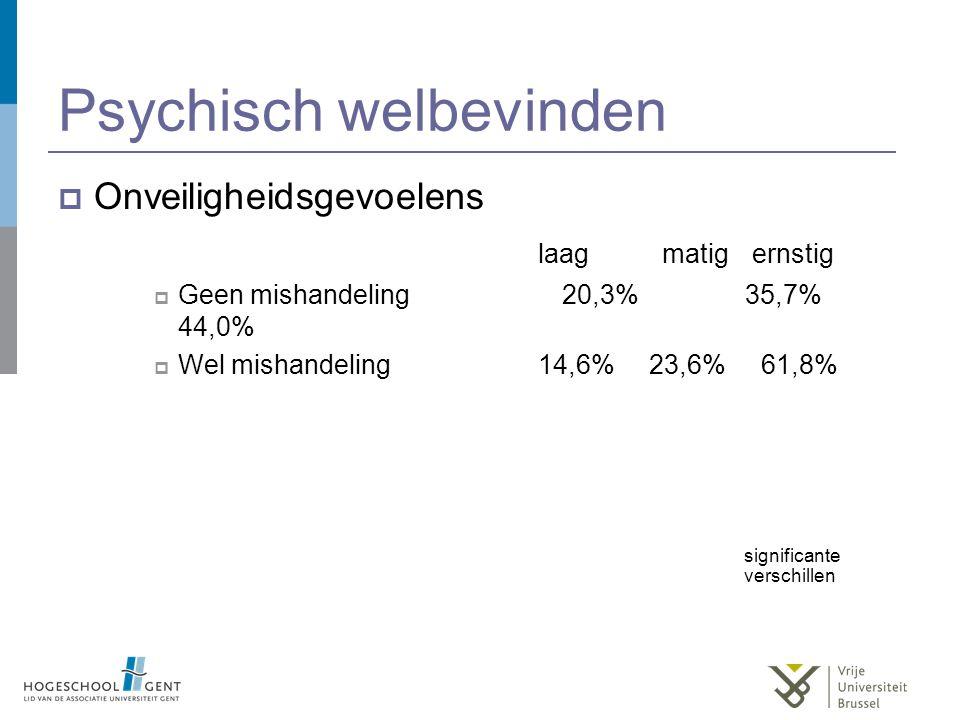 Psychisch welbevinden  Onveiligheidsgevoelens laag matig ernstig  Geen mishandeling 20,3% 35,7% 44,0%  Wel mishandeling14,6% 23,6% 61,8% significan