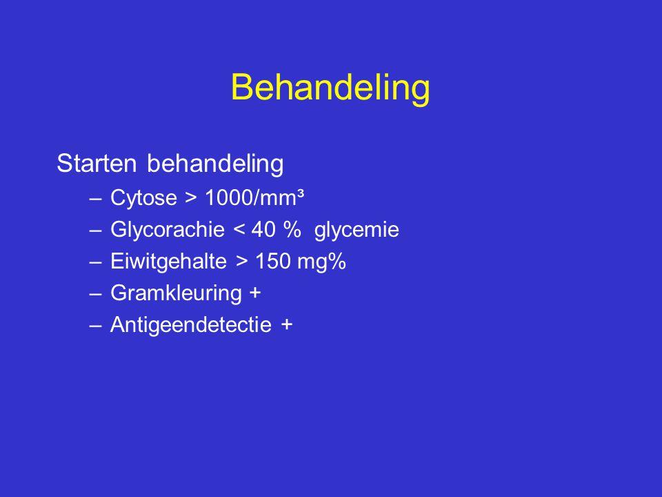 Behandeling Starten behandeling –Cytose > 1000/mm³ –Glycorachie < 40 % glycemie –Eiwitgehalte > 150 mg% –Gramkleuring + –Antigeendetectie +